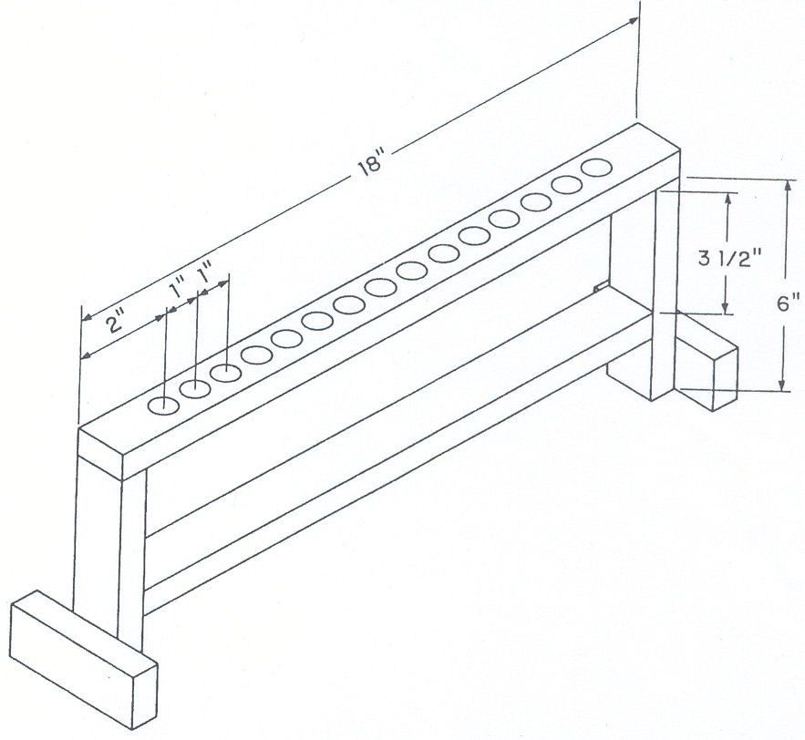 Figure 6. The test tube rack shown is made of wood and is for ½ inch inside diameter test tubes. Holes in the top member