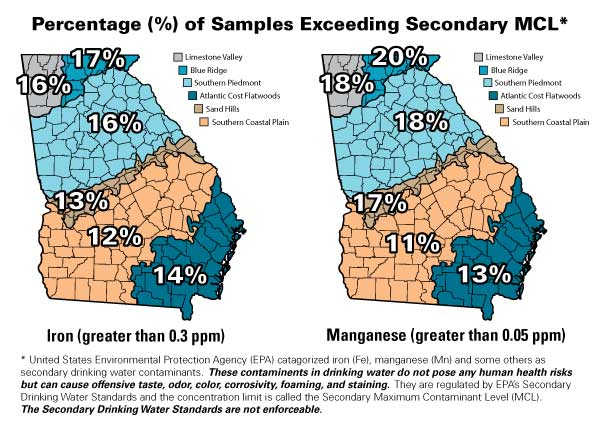 maps of georgia show percentage of test samples that exceeded 0.3 ppm levels of iron and 0.05 ppm levels of manganese by region. Iron: Limestone Valley=16%, Blueridge=17%, Southern Piedmont=16%, Sandhills=13%, Southern Coastal Plain=12%, and Atlantic Coast Flatwoods=14%. Manganese: Limestone Valley=18%, Blueridge=20%, Southern Piedmont=18%, Sandhills=17%, Southern Coastal Plain=11%, and Atlantic Coast Flatwoods=11%.