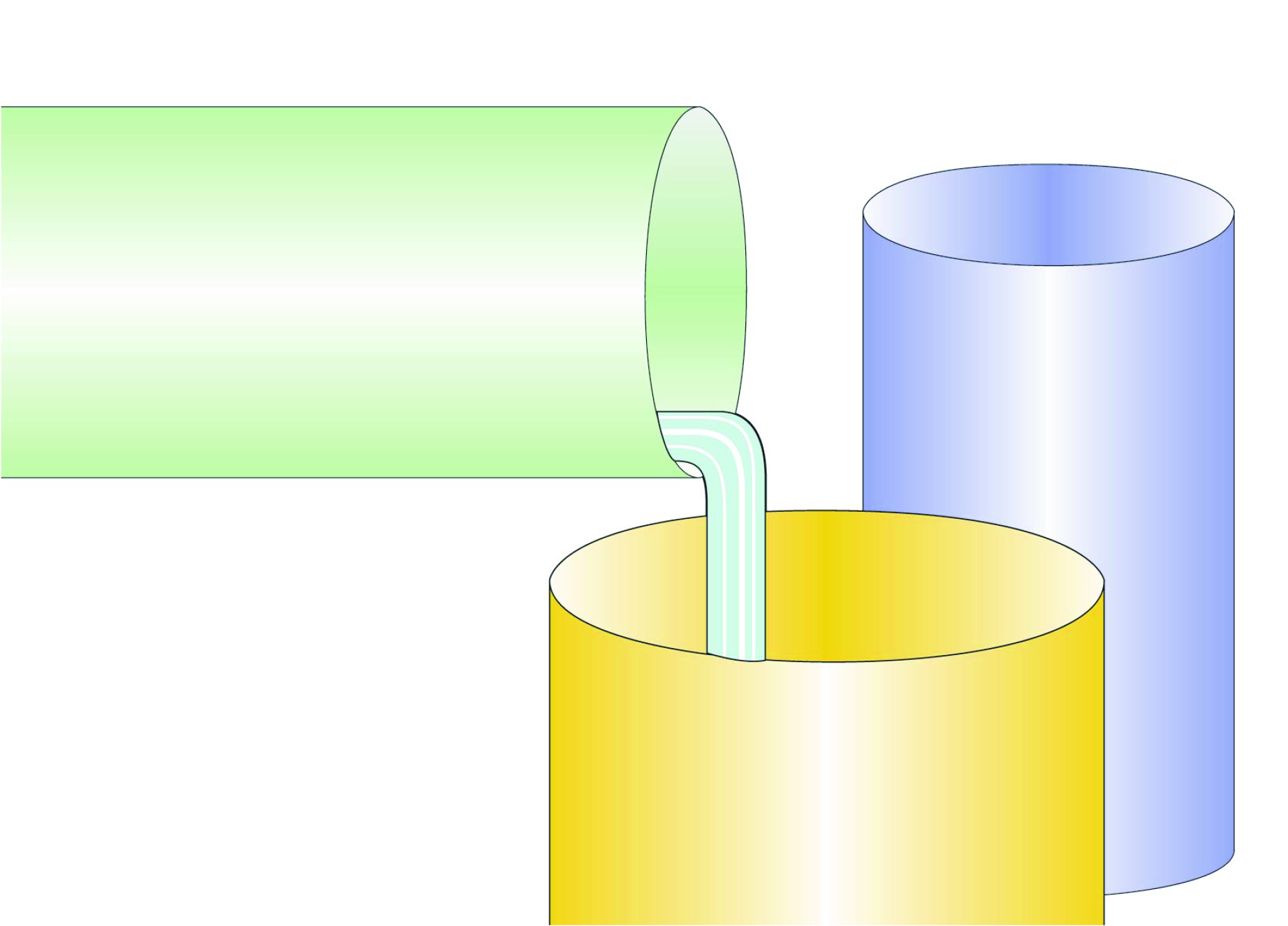 water pouring through pipes illustration