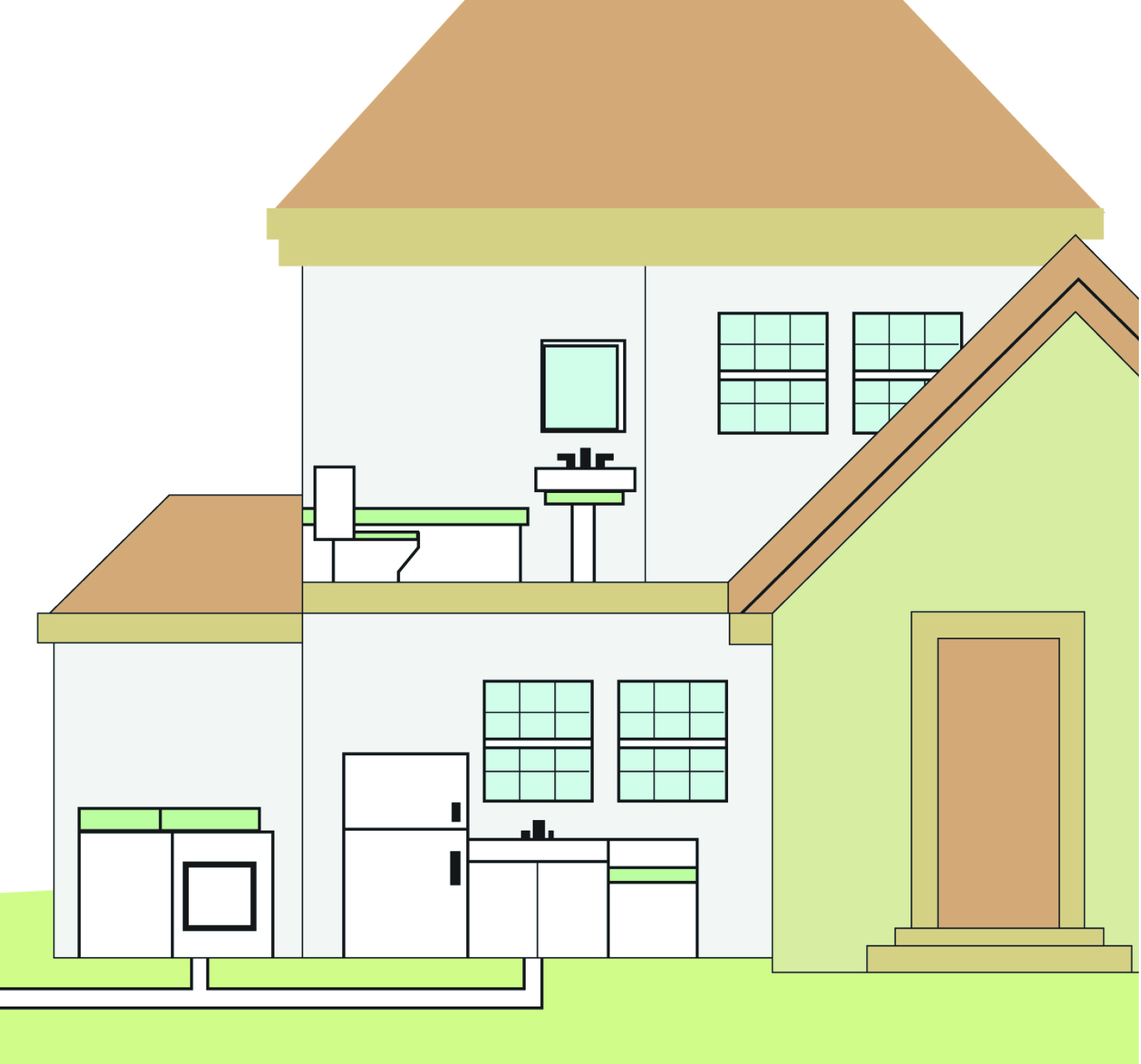 house with pipes illustration