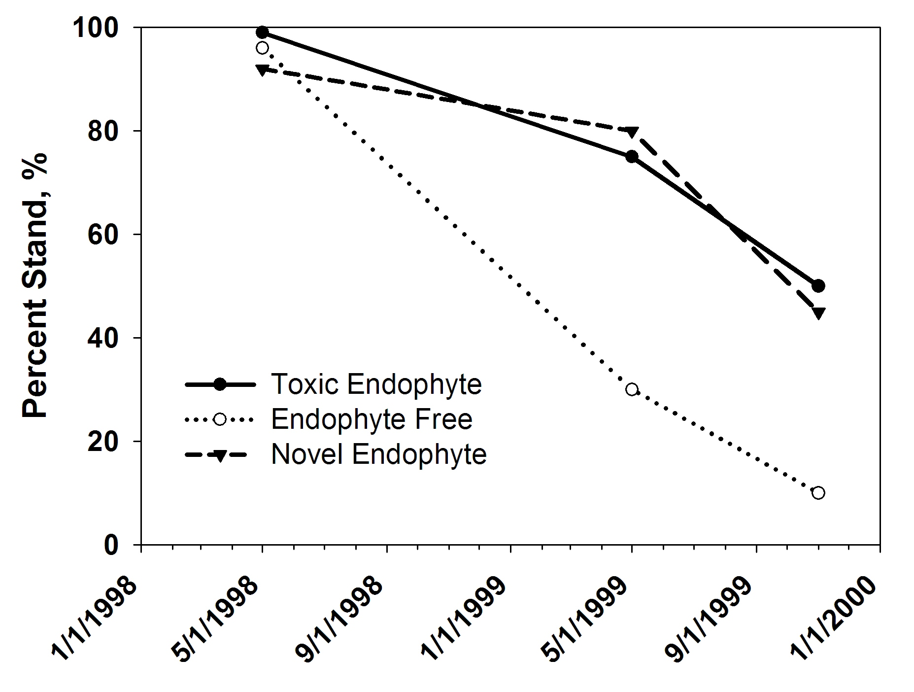 Figure 2. Stand persistence of novel endophyte-infected (Jesup MaxQ), toxic endophyte-infected, and endophyte- free tall fescue in bermudagrass sod after two years of close grazing near Eatonton, Ga. (Bouton et al., 2000).