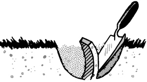 illustration shows a hand trowel in a hole, taking a thin slice of the soil.