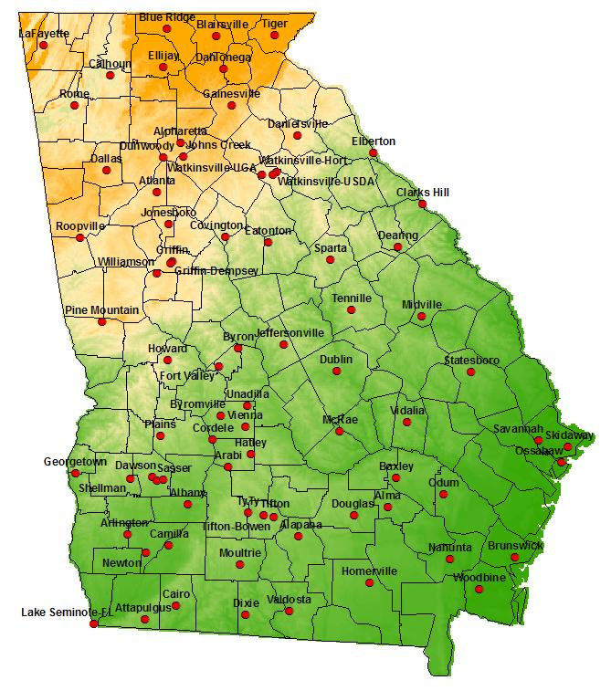 Figure 1. Map showing the location of the Georgia AEMN weather stations.