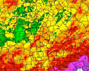Precipitation observed across the state of Georgia during June 2012.