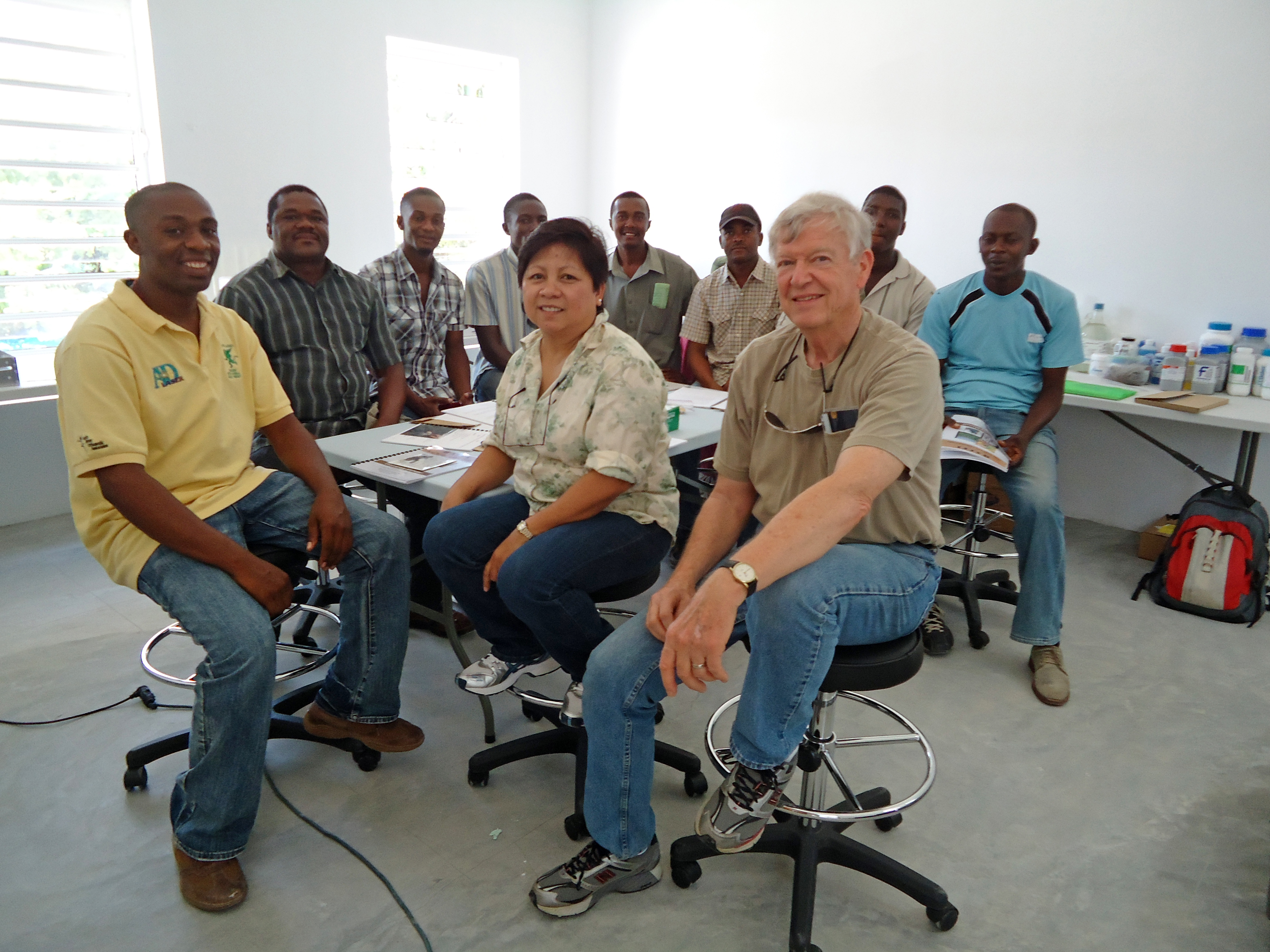 UGA soil scientists Leticia Sonon and David Kissel recently traveled to Haiti to help set up a soil-testing lab and to teach several teachers and school officials how use the equipment. Haitian agriculture expert Eddy-Jean Etienne, far left in front, traveled to Athens in March to train with Kissel and Sonon, so that he could help supervise the lab.