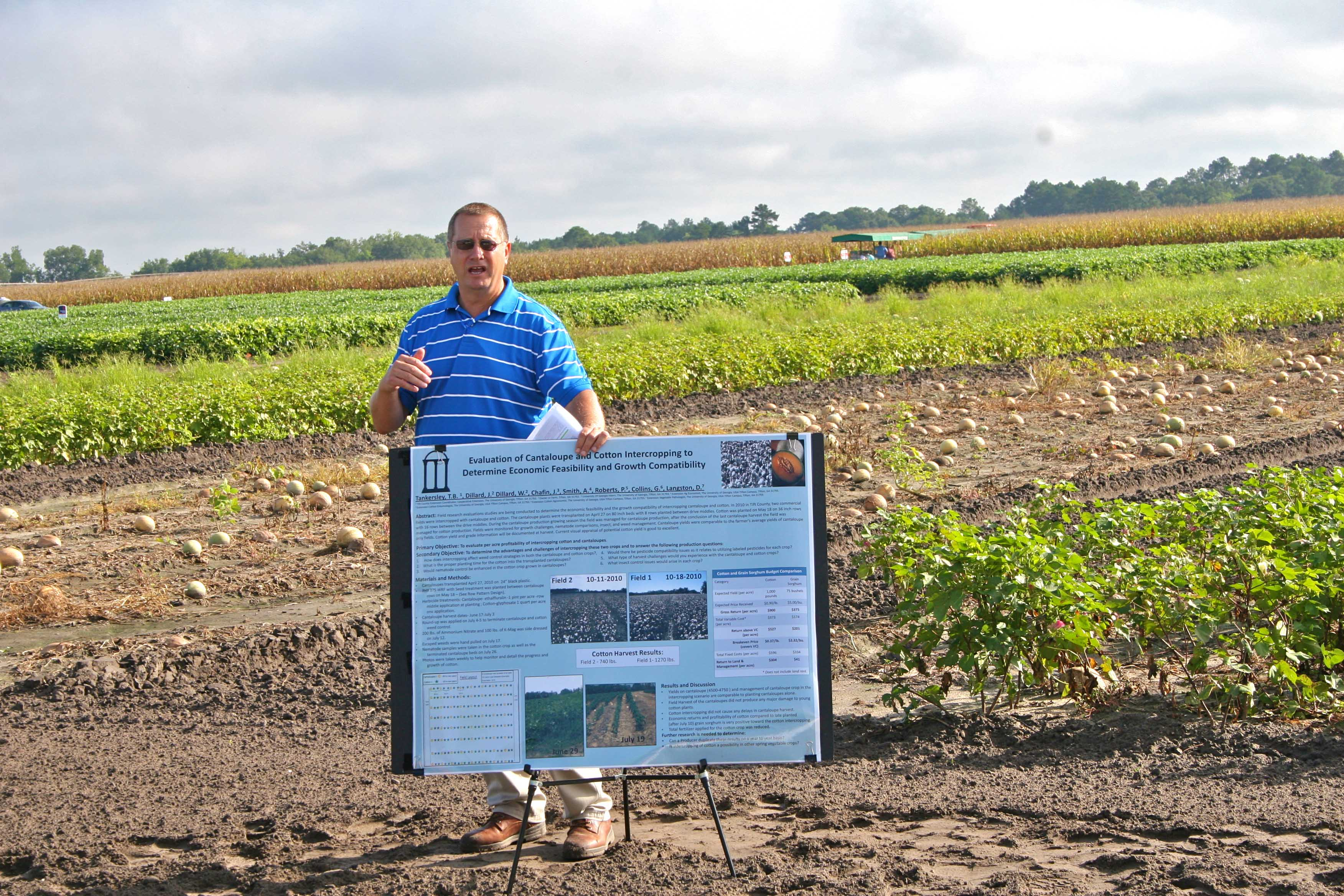 Tift County Extension Coordinator Brian Tankersley talks about intercropping cantaloupe and cotton at the 2012 Sunbelt Ag Expo Field Day.