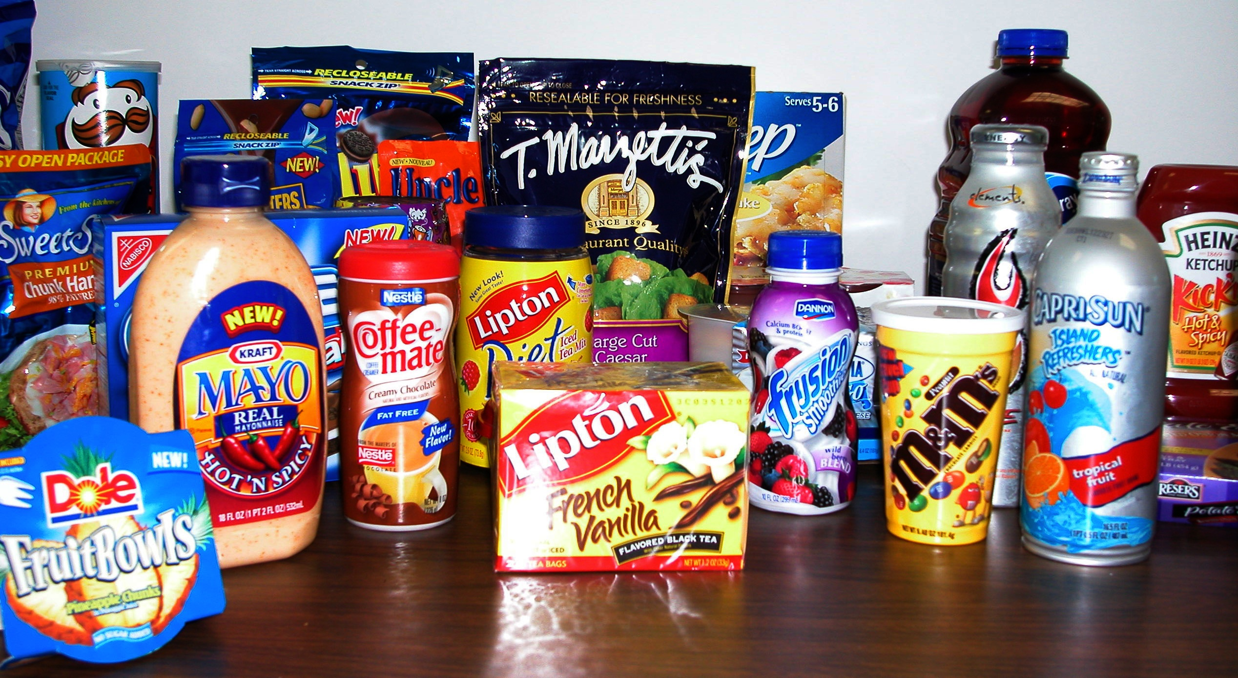 An array of food products