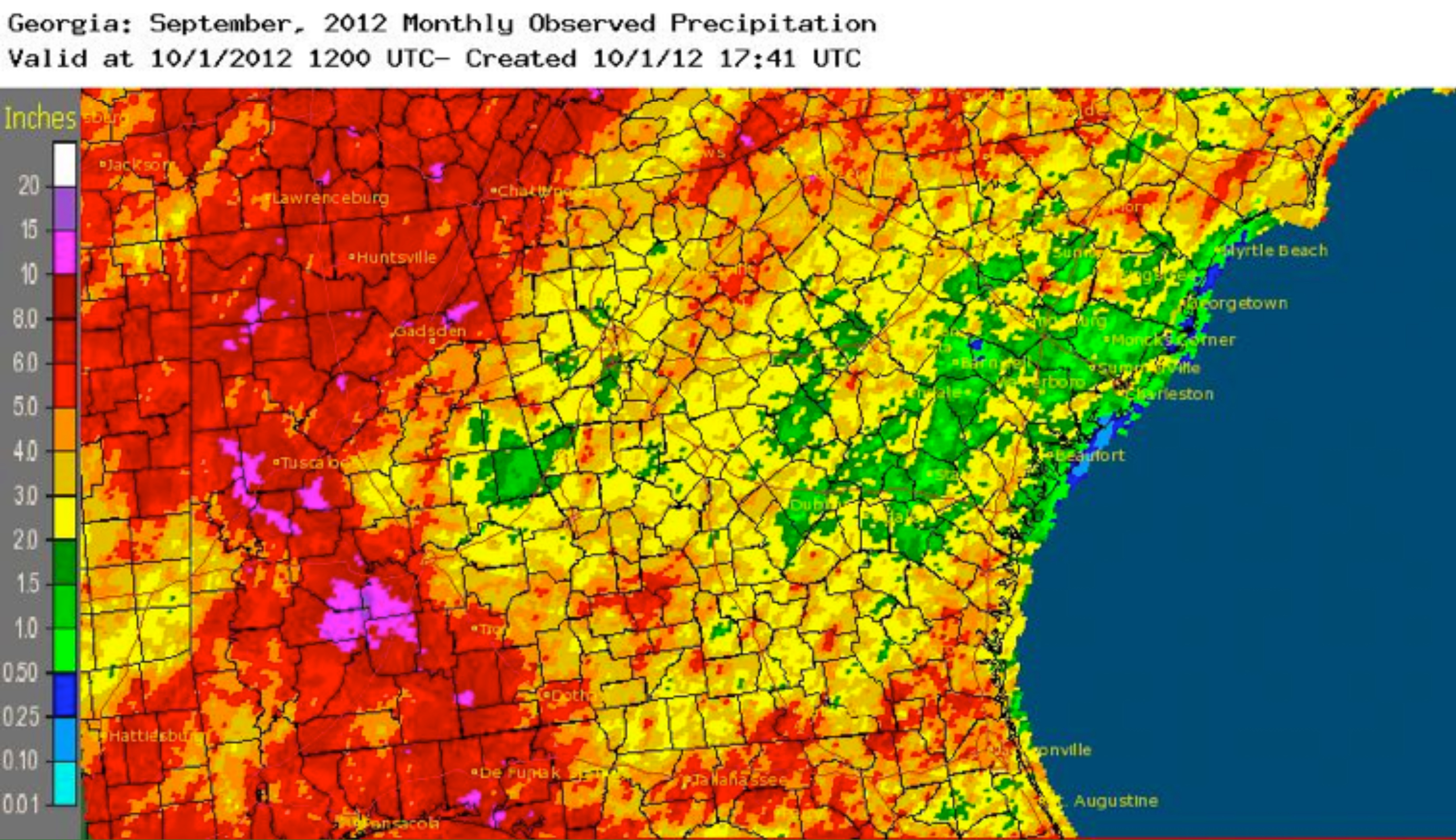 Georgia saw a slightly drier than average September, but the state did see plenty of rain at the beginning of the month when the remnants of Hurricane Isaac blew through.