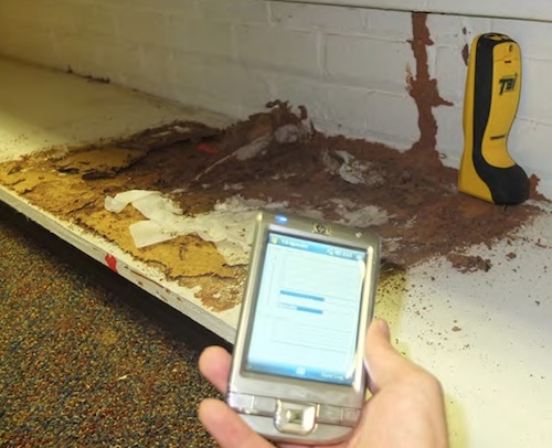 A University of Georgia entomology student uses a microwave motion detection to check the effectiveness of a termite treatment.