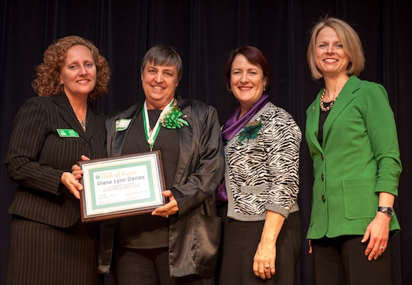 Diane Davies, retired Georgia 4-H Environmental Education program director, has been named to the National 4-H Hall of Fame.  Shown during the induction ceremony are Debbie Nistler, NAE4-HA president, Davies, Lisa Lauxman, director of the Division of Youth and 4-H, National Institute of Food and Agriculture USDA and Jennifer Sirangelo, executive vice president of the National 4-H Council.