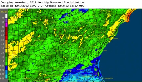 The National Weather Service reported that Georgia saw an abnormally drier and colder November.