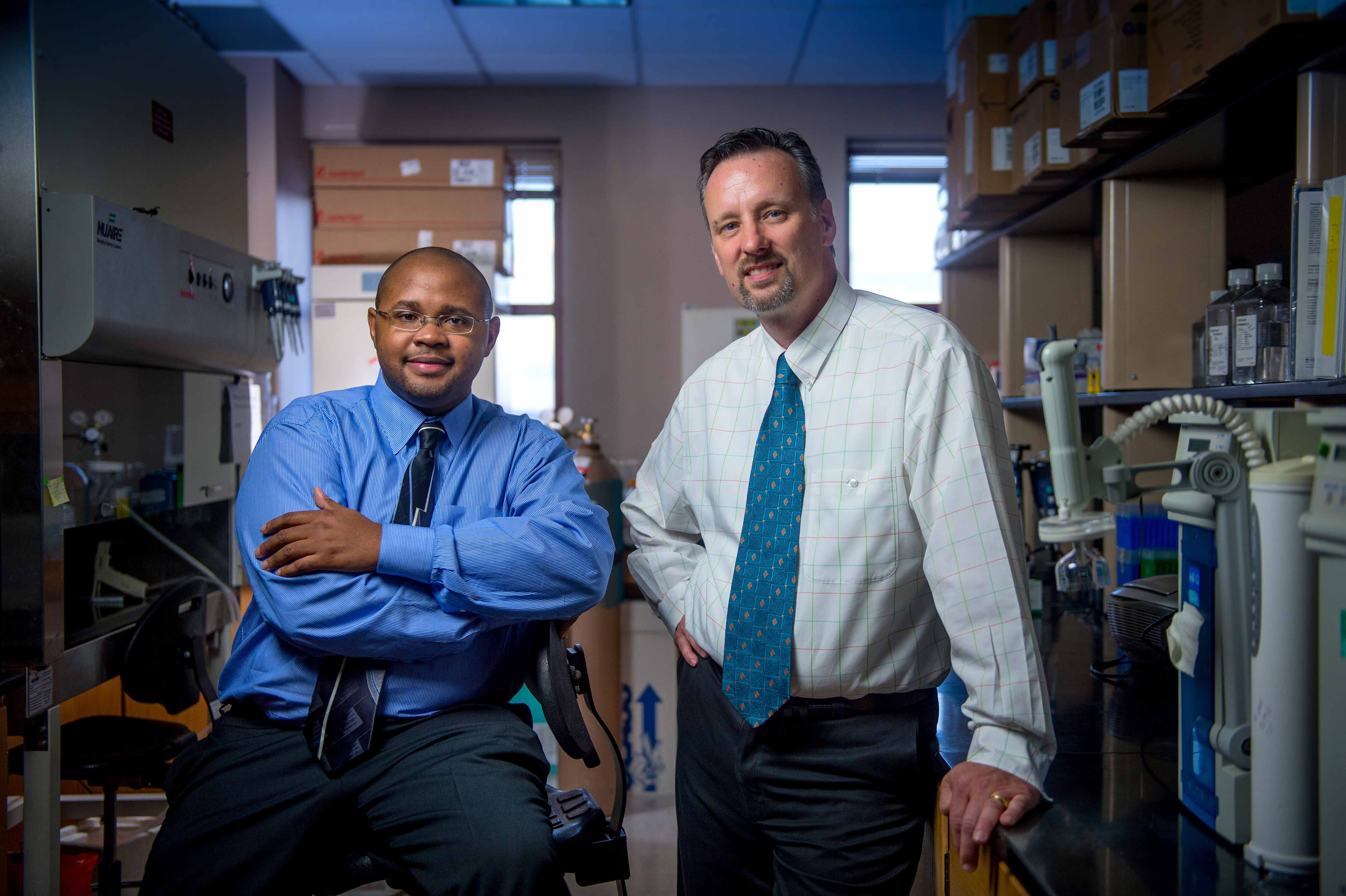 Franklin West and Steve Stice test new tool to detect toxicant links to abnormal fetal development.