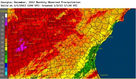 While some parts of Georgia received more than 8 inches of rain during December 2012, parts of the state's southern coast received lest than an inch of rainfall.