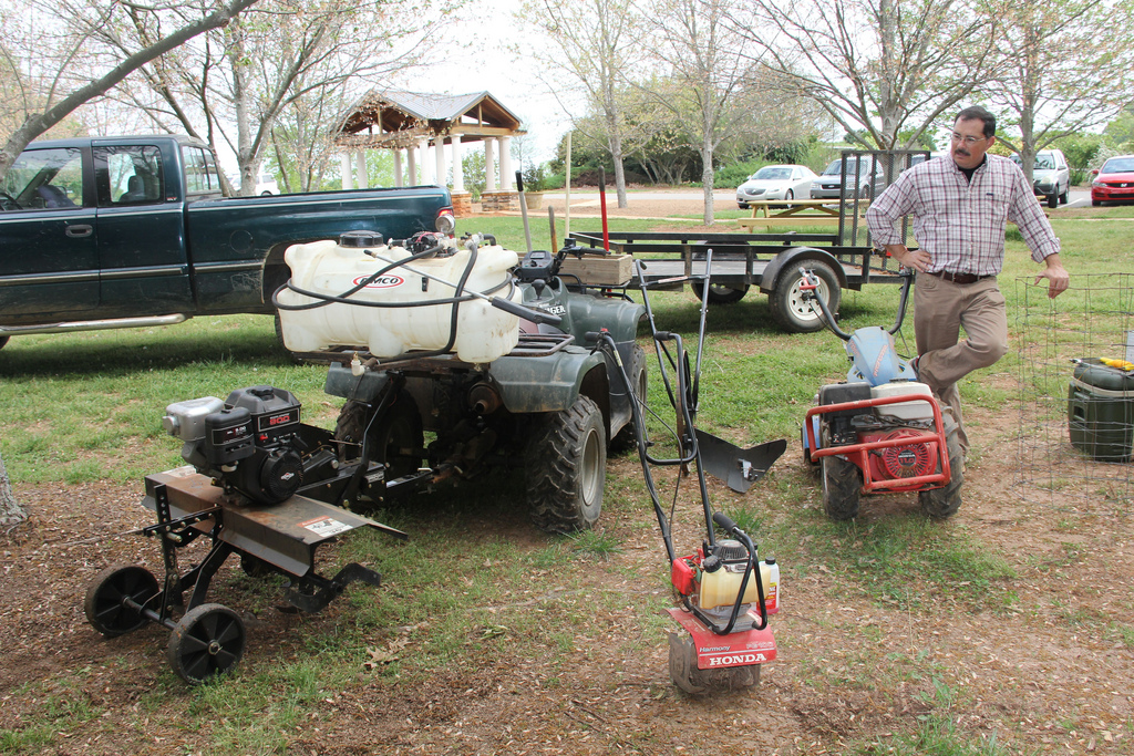 University of Georgia Cooperative Extension horticulturist Bob Westerfield displays several pieces of lawn and garden equipment during a class on the UGA campus in Griffin, Georgia.