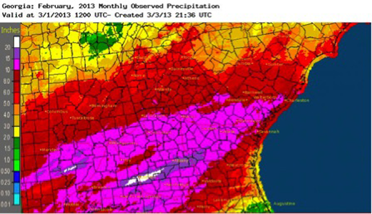 Some areas of Georgia saw record breaking rainfall in February. The wet conditions helped to drive drought conditions out of most parts of the state.