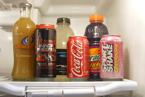 High-calorie drinks lined up in refrigerator. June 2009.