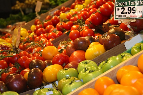 A variety of tomatoes for sale at the Buford Highway Farmers Market in Atlanta.