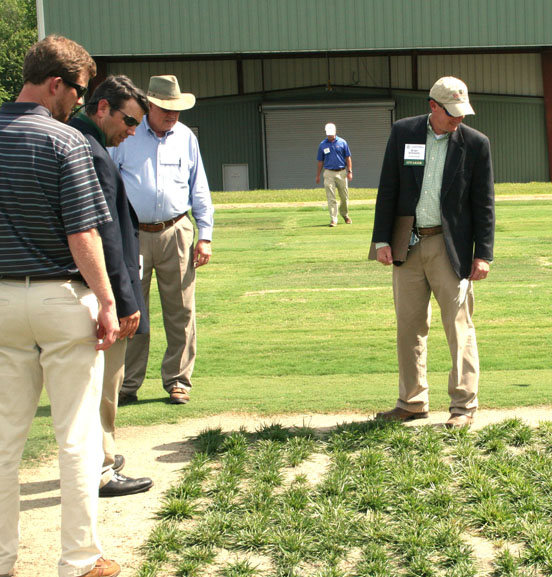 UGA turfgrass breeder Brian Schwartz (right) examines research plots during the turfgrass conference held in 2013.