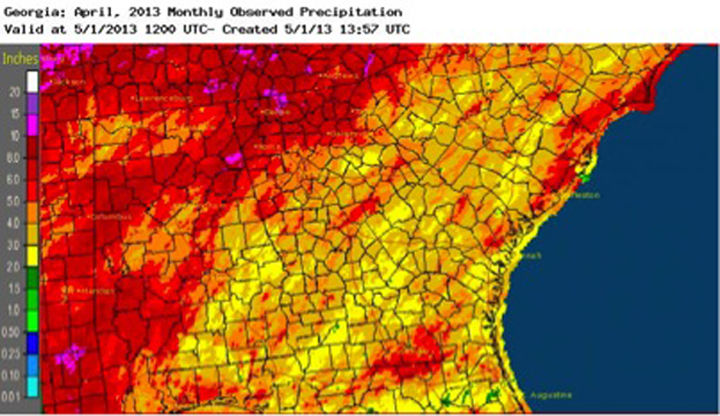 Drought conditions continued to shrink across the state during April due to the seasonal rainfall and cool spring temperatures; the only area of Georgia left in drought is a small sliver along southeast coast.