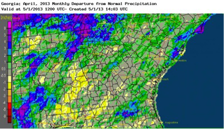 Rainfall in April was near normal for most of Georgia.  Drought conditions continued to shrink across the state during April due to the seasonal rainfall and cool spring temperatures; the only area of Georgia left in drought is a small sliver along southeast coast.