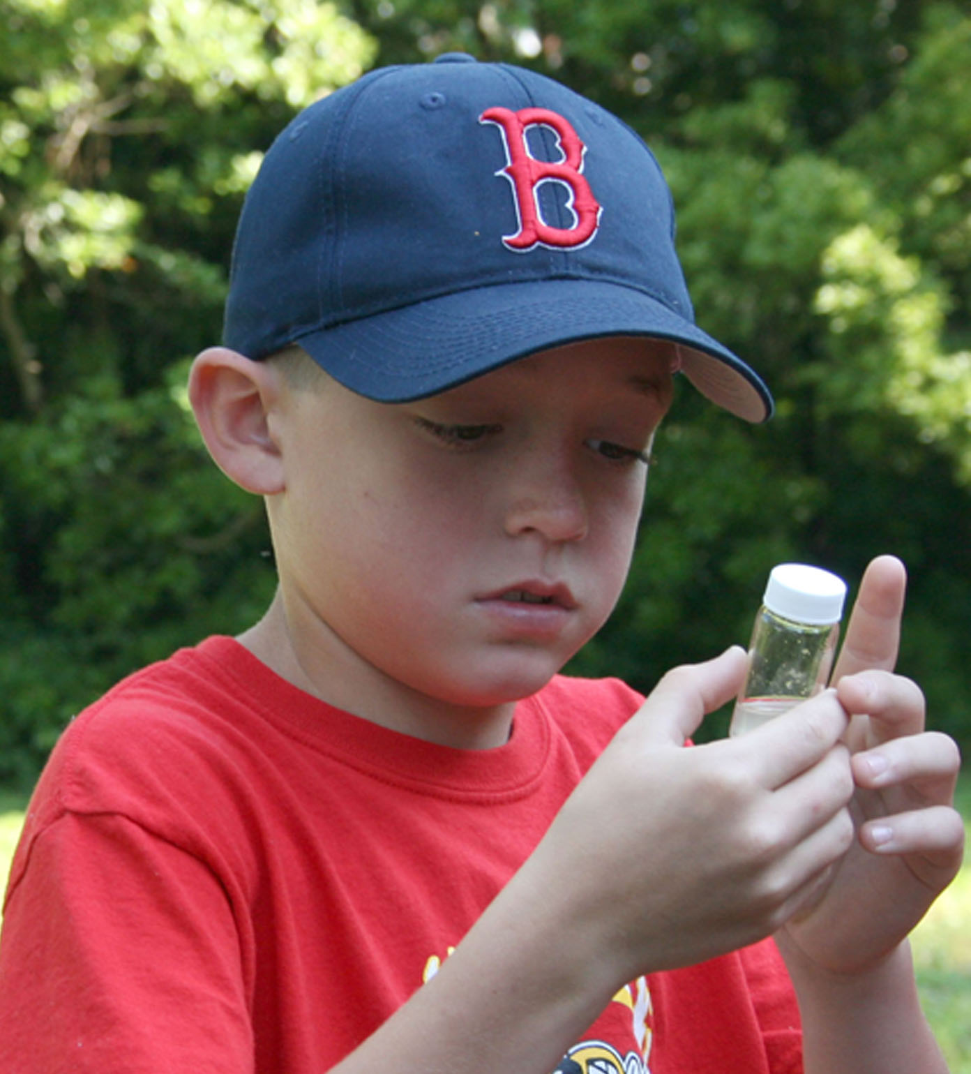 Cody Forte, a Cook County third grader, examines a maggot inside of a container.