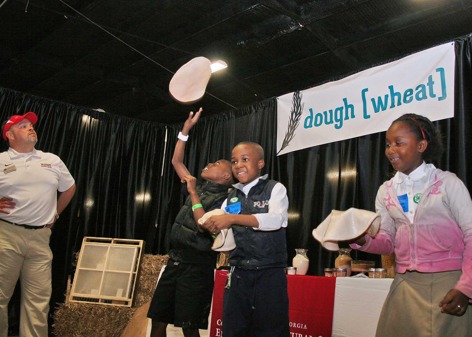 Tossing dough