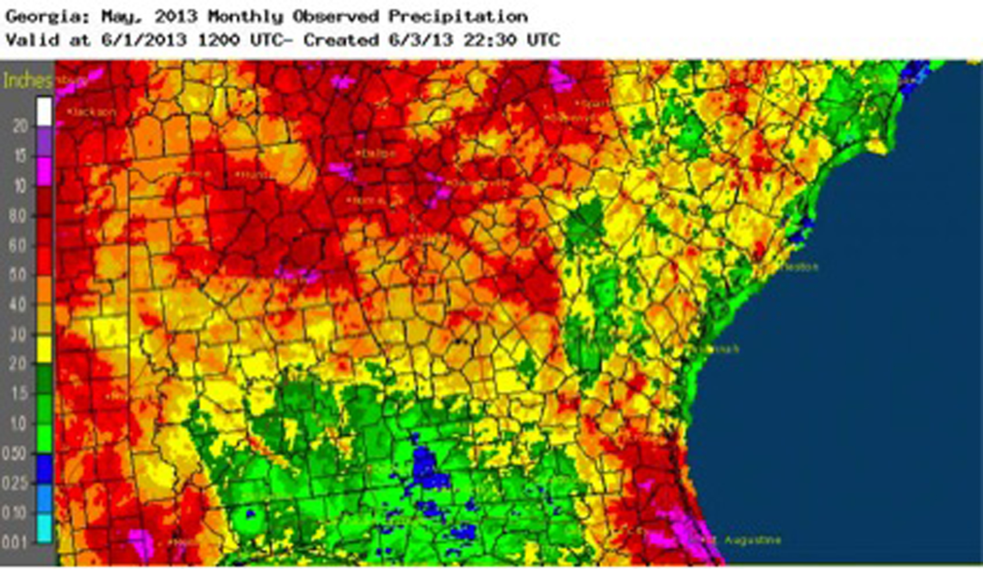 Some areas of Georgia received significantly more rain than normal during May 2013, but left others too dry.