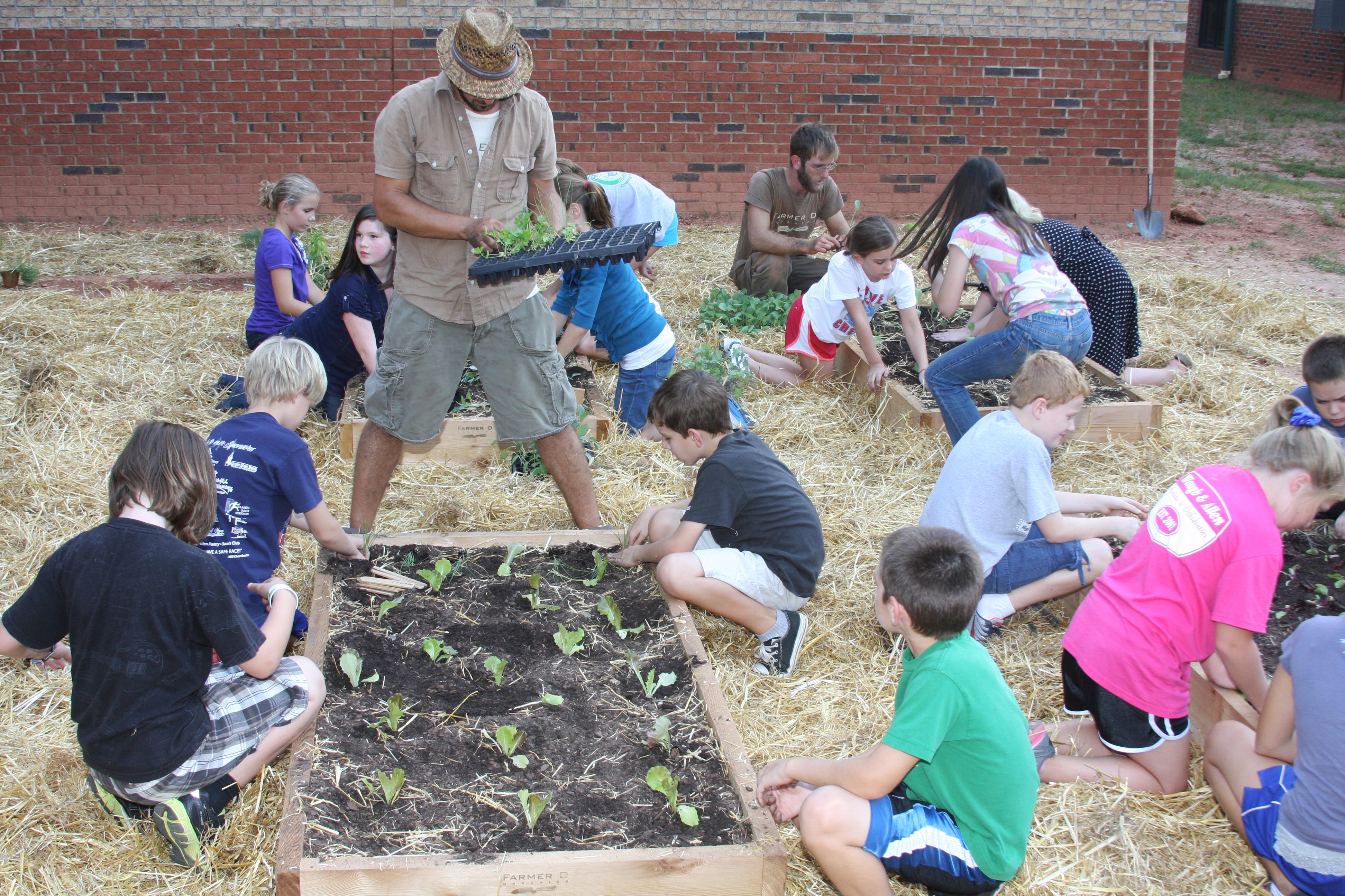 Students work in a school garden at High Shoals Elementary School.