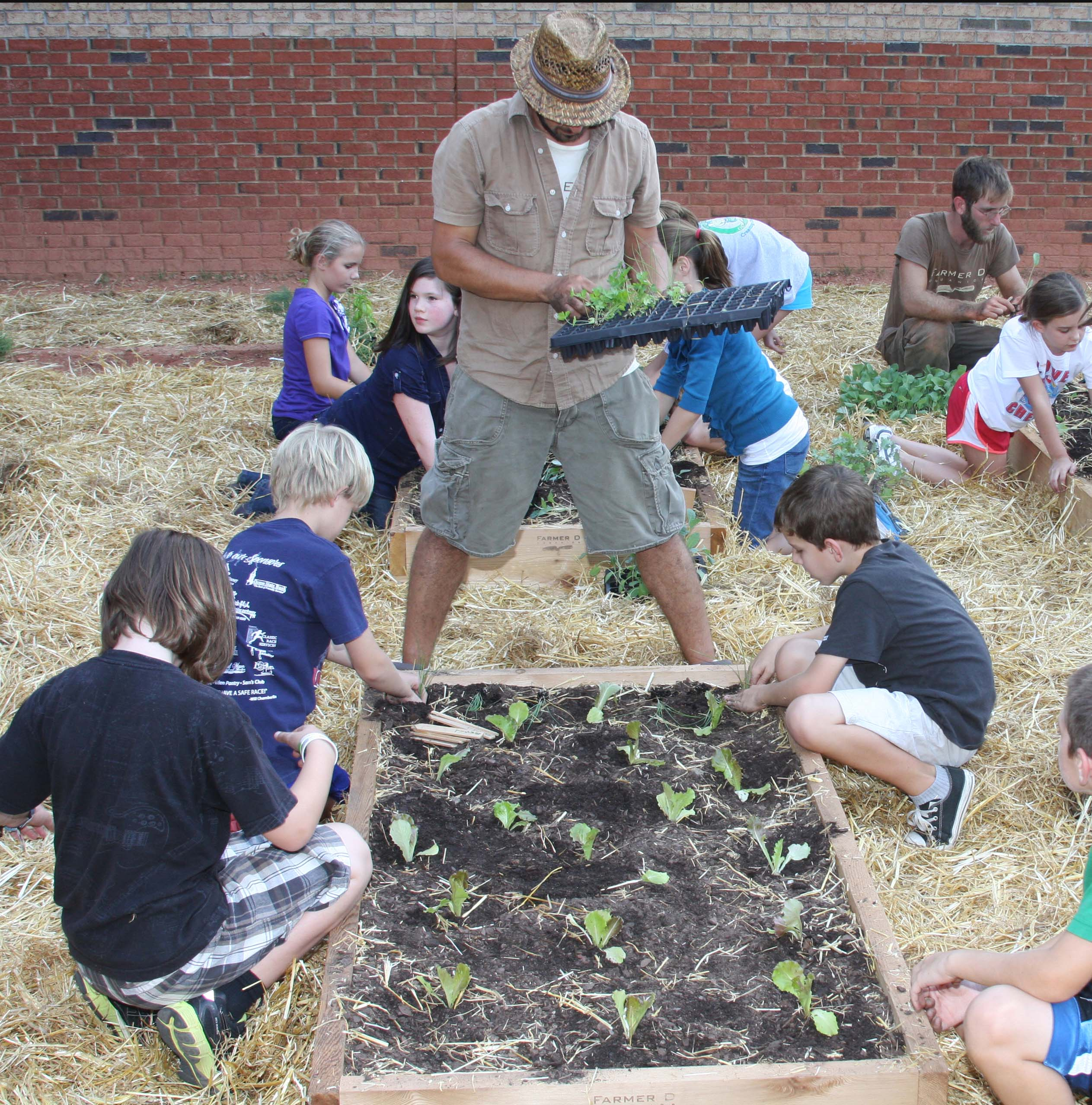 Students work in a school garden at High Shoals Elementary School.