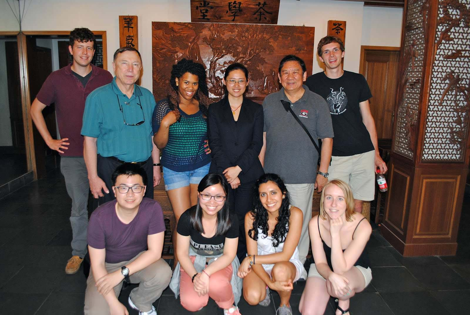 Participants of the CAES Global Food and Trade Study Abroad program in China.   Pictured at The National Tea Museum Hangzhou, Zhejiang Province China.  L-R (Back Row), Christopher Cole Crawford, Dr. Glen Ames, Charnae Ross, Tea Professor from Tea Museum, Dr. Yao-wen Huang, David Rospond  L-R (Front Row) Xiameng Wu, XX (student from Shanghai Ocean University), Grace Melo Guerrero and Lauren Hudson