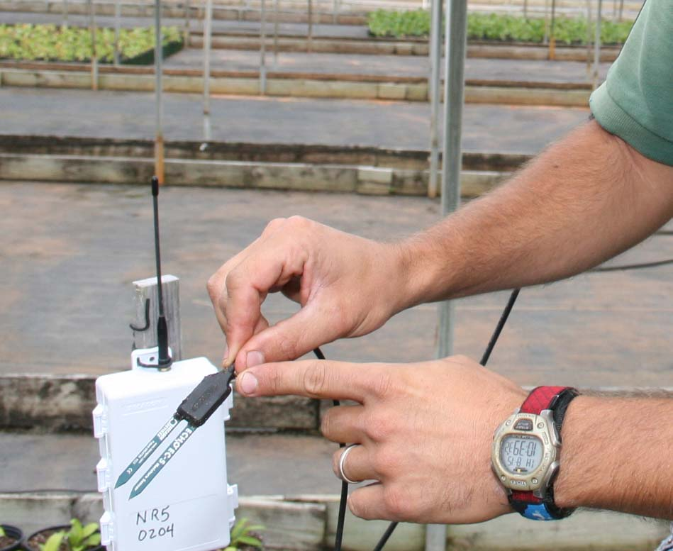 Will Ross, head grower at Evergreen Nursery in Statham, shows of the ultra-precise soil moisture sensors that have allowed him to automate part of his nursery irrigation system.