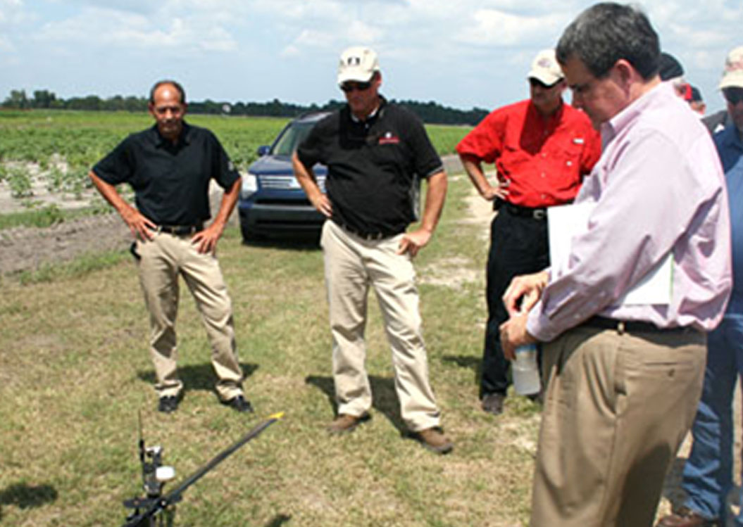 University of Georgia President Jere Morehead looks at an unmanned aerial vehicle during last Wednesday's agricultural tour at the Sunbelt Expo in Moultrie.