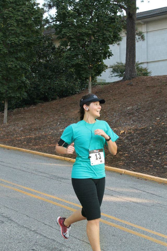 Walk Georgia participant Andrea Gonzalez is shown running in the Sigma Alpha 5K in October of 2012, her third race. Her motivation to run first came from competing against her friends through the Walk Georgia program.