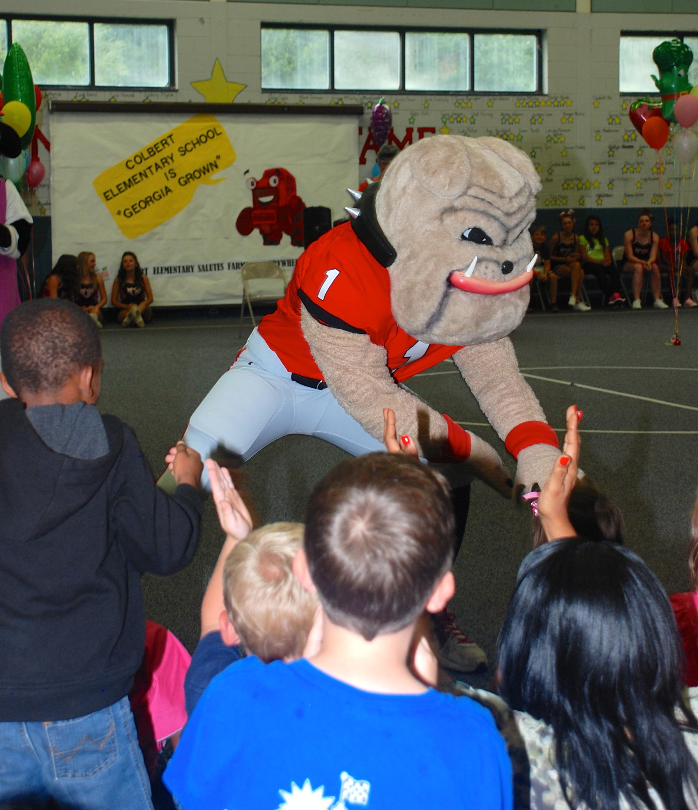Hairy Dawg gets Colbert Elementary School Students riled up for agriculture at the kick-off assembly for the Feed my School For Week program.