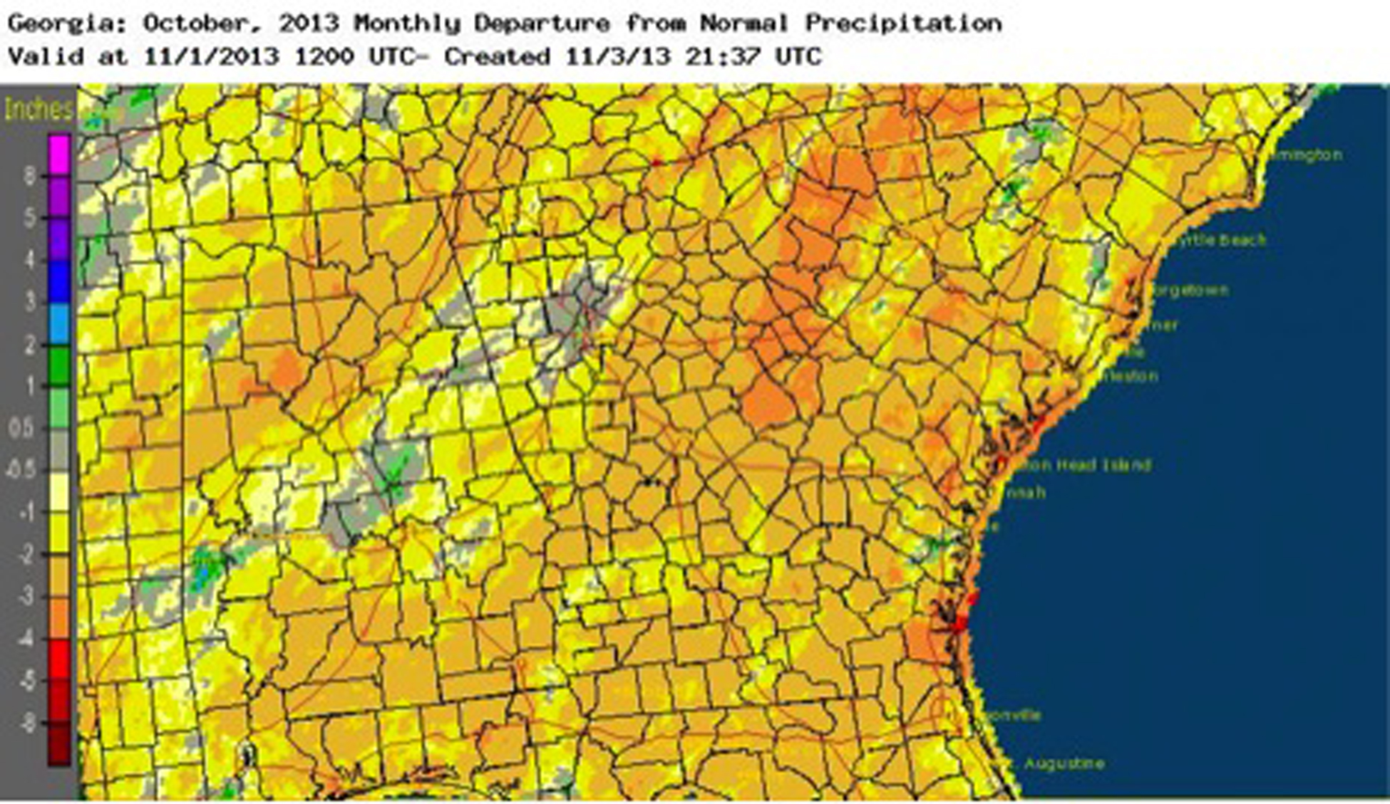 Many parts of Georgia only saw about a quarter of their normal October rainfall during October 2013.