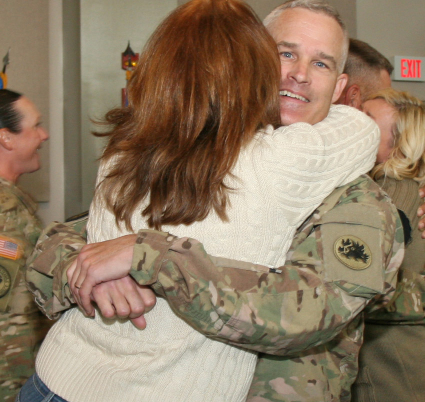 Col. Barry Beach, commander of the Georgia National Guards ADT III, is welcomed home after a 11 month deployment to Afghanistan.