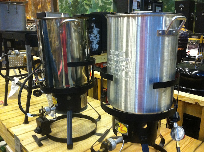 Propane-fired turkey fryers on display in a sporting goods store in Macon, Georgia.