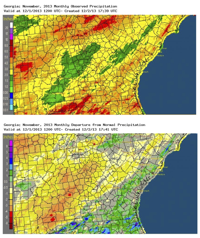 November 2013 Weather Summary - Top chart, observed precipitation - (on high resolution image) Bottom chart, departure from normal precipitation.