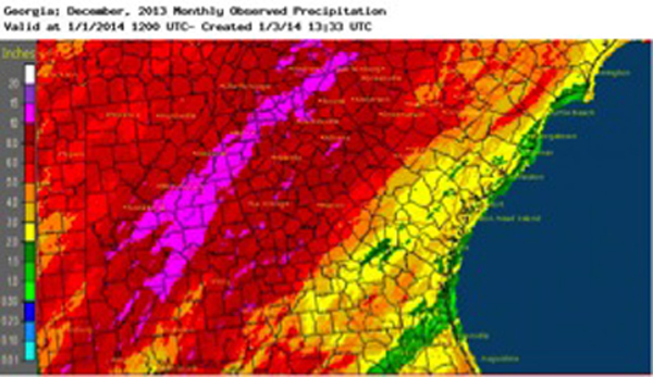 Most areas of Georgia received more precipitation than normal during December, putting a damp end to 2013, one of the wettest years in recent history.