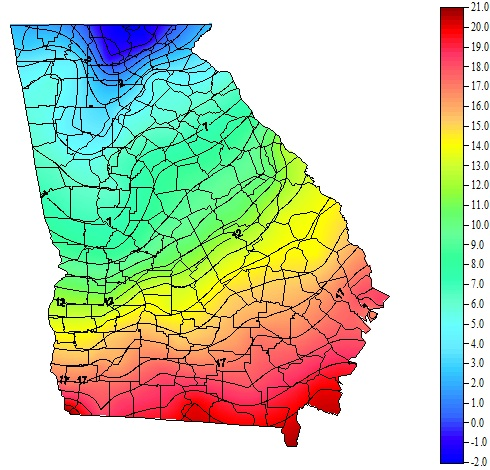 A map from the Georgia Weather Network shows the extreme low temperatures in Georgia on Jan. 7, 2014.