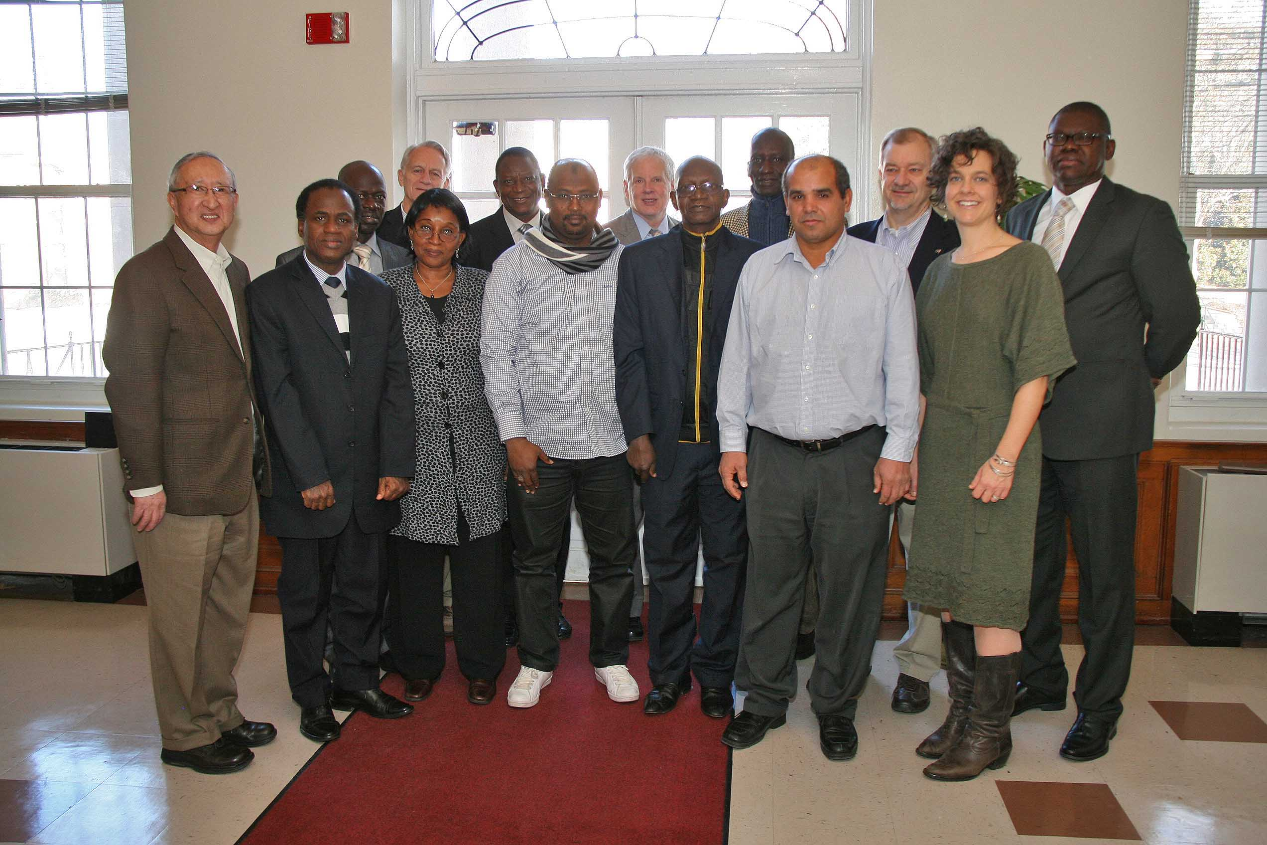 Ed Kanemasu,CAES assistant dean of international affairs and director of global programs; far left; and other UGA administrators hosted a delegation of animal health and agricultural experts from Mali in Athens from Wednesday to Friday this week. The visit represented the reestablishment of a relationship between the UGA College of Agricultural and Environmental Sciences  and the Malian government that started in 2006, but was interrupted when a coup toppled the Malian government in March 2012.