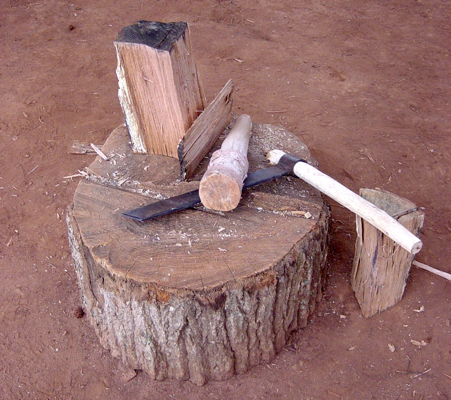 """In pioneer days, the froe was used to split off pieces from a log and the maul was used to drive the froe into the wood. The froe had a couple of dozen other names as well, including """"riving ax."""" Depending on how large and long the log was, everything from withes to shakes and shingles were made."""