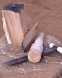 "In pioneer days, the froe was used to split off pieces from a log and the maul was used to drive the froe into the wood. The froe had a couple of dozen other names as well, including ""riving ax."" Depending on how large and long the log was, everything from withes to shakes and shingles were made."
