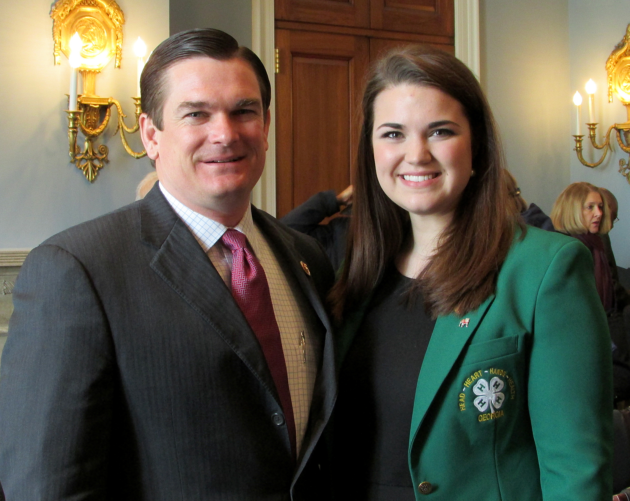 Tess Hammock, right, testified March 4 on behalf of the 7 million 4-H'ers in America. The hearing was held before the U.S. House of Representatives subcommittee on horticulture, research, biotechnology and foreign agriculture, chaired by Rep. Austin Scott (R-Ga.), left.