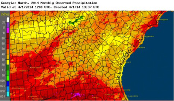 March 2014 was drier than normal over most parts of the state.