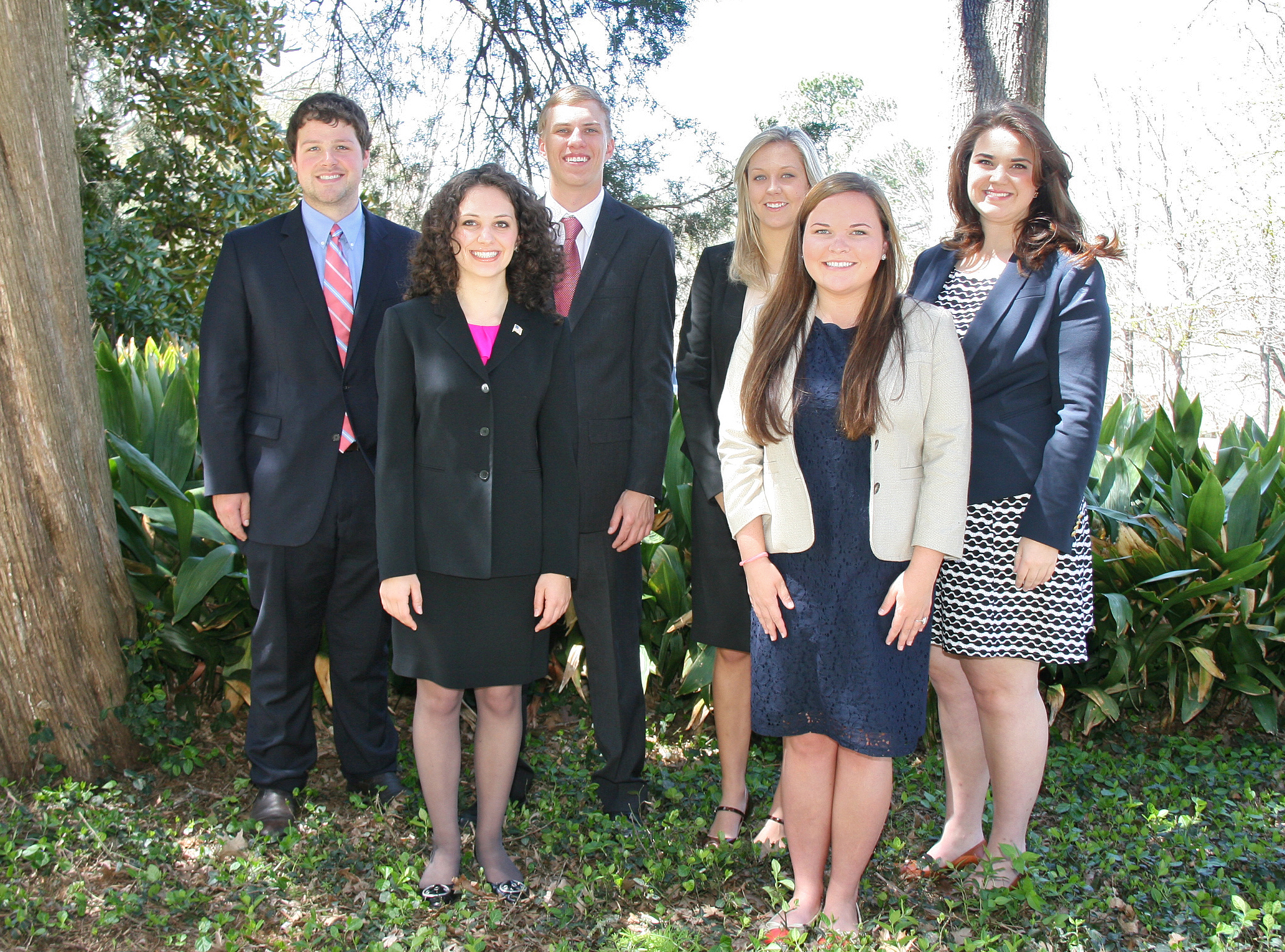 UGA CAES students, from left; back, J. Thomas Golden, Michael Thompson, Sarah Brown, Tess Hammock and, front, Sarah Carnes and Mary Cromley will serve as UGA's Congressional Agriculture Fellows this summer.  Once in Washington D.C., the students will attend agricultural committee hearings and conduct agricultural-related research, all while earning credit hours towards graduation.