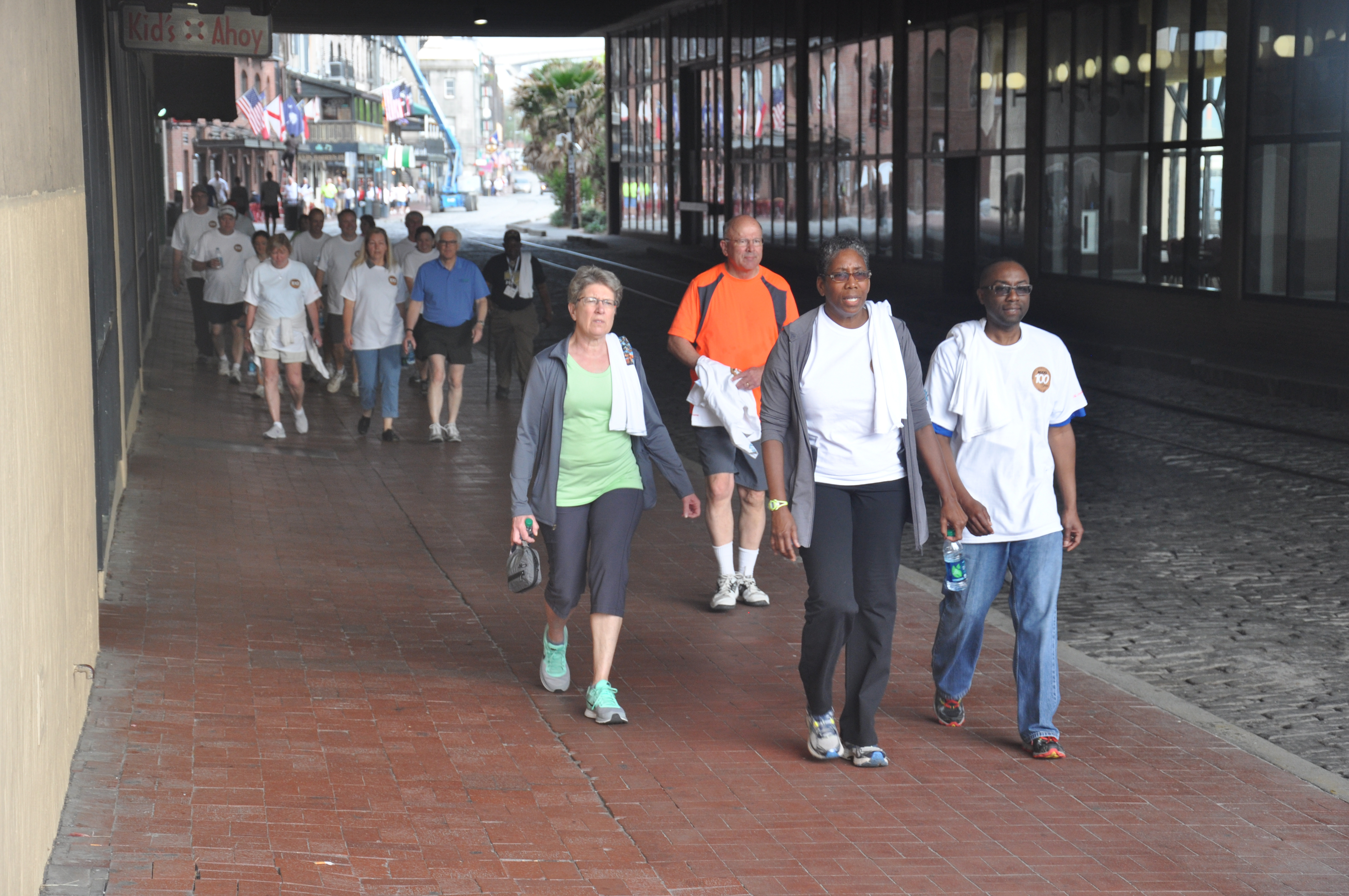 Georgia county commissioners and staff complete the Wellness Walk, sponsored by Walk Georgia, The Coca-Cola Foundation, Association County Commissioners of Georgia (ACCG) and Local Government Risk Management Services, Inc., on Savannah's River Street Monday morning. The event was part of ACCG's annual conference, held in Savannah over the past week.