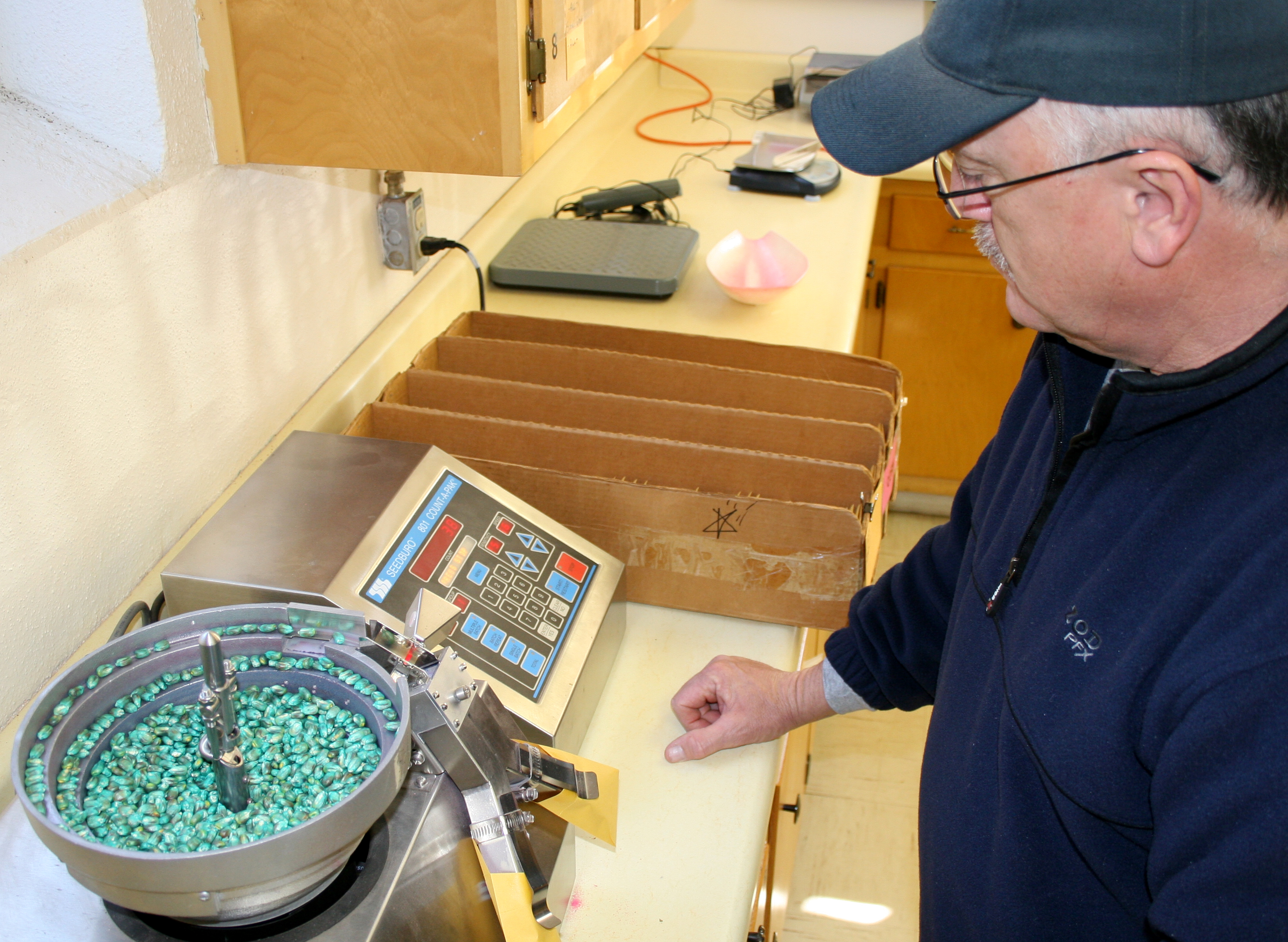 Gary Ware runs a seed counting machine in the UGA Variety Testing Program laboratory in Griffin, Ga.