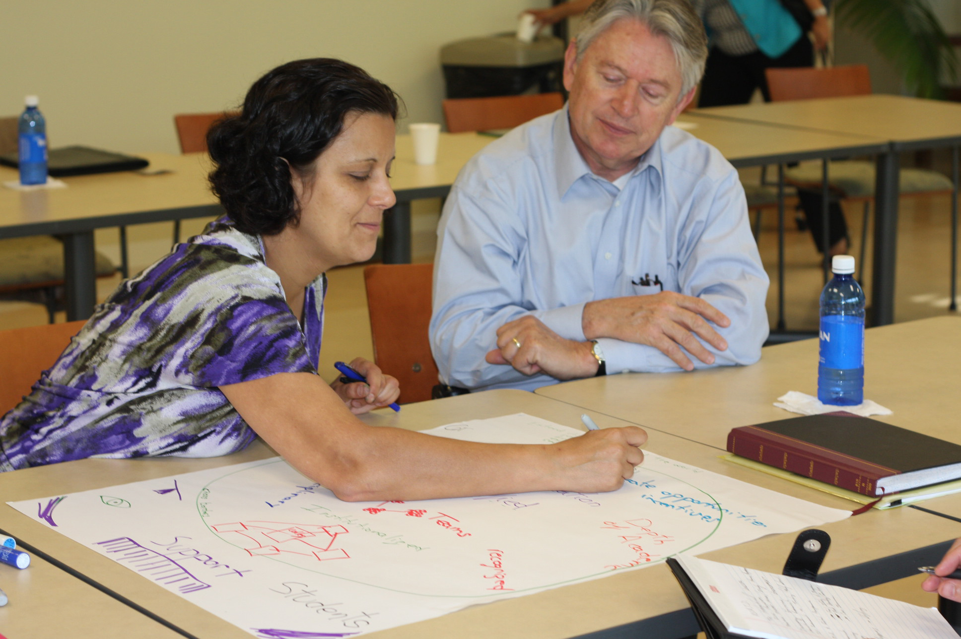 Maria Navarro, associate professor in the Department of Agricultural Leadership, Education and Communication, works with Josef Broder, associate dean for academic affairs for the UGA College of Agricultural and Environmental Sciences, at a Office of Global Programs visioning meeting in June 2014.