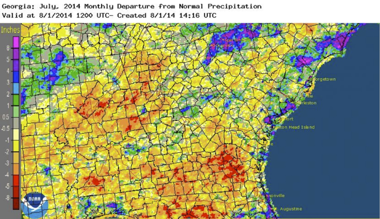 July 2014 Monthly departure from normal precipitation.